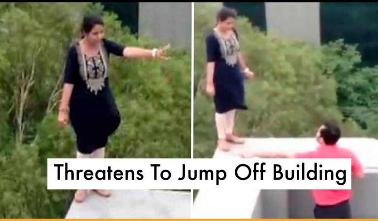 Woman Dramatically Threatens To Jump Off Building After Getting Fired From Her Job