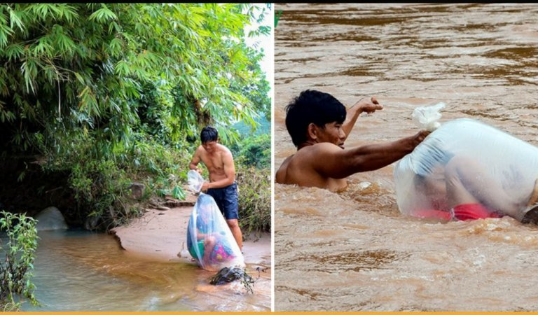 Man Transporting Students In Plastic Bags Through Muddy River To Get Them School Goes Viral