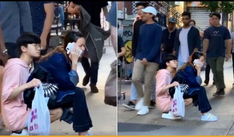 Loving Man Became A Human-Chair For Tired Girlfriend In The Middle Of The Sidewalk