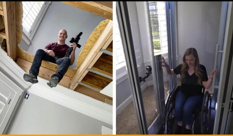 For His Girlfriend On A Wheelchair YouTuber Installs A DIY Elevator And Shares Video Too