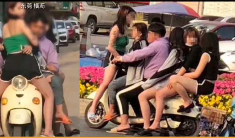 Chinese Man Carries Five Women On One Bike Disobeying The Protocol of Social Distancing