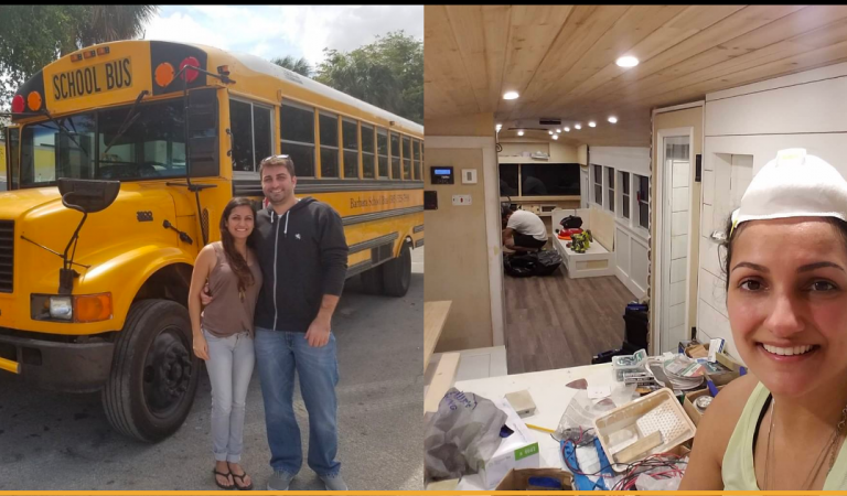 Couple Transformed An Old School Bus Into Cute Tiny House on Wheels