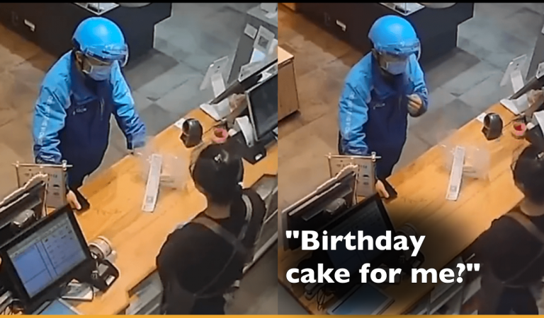Deliveryman Becomes Emotional After A Customer Brought Cake for His Birthday