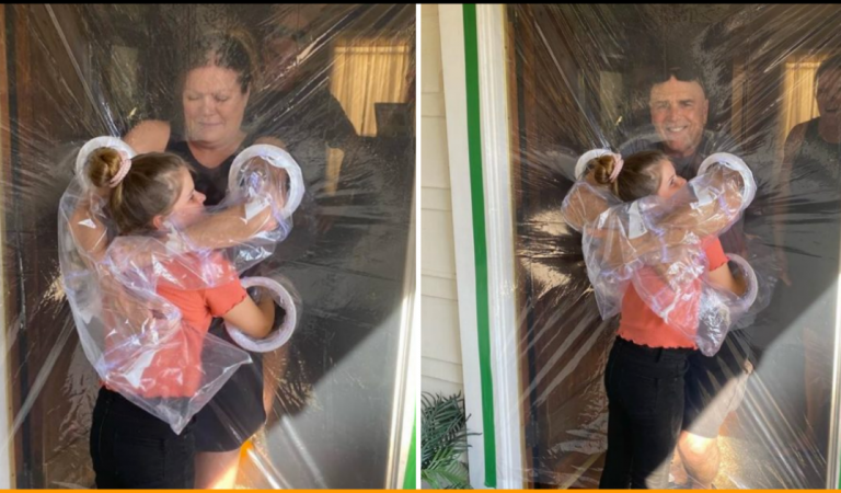 Little Girl Invents 'Hug Curtains' Made of Plastic To Hug Her Grandparents Amid Pandemic
