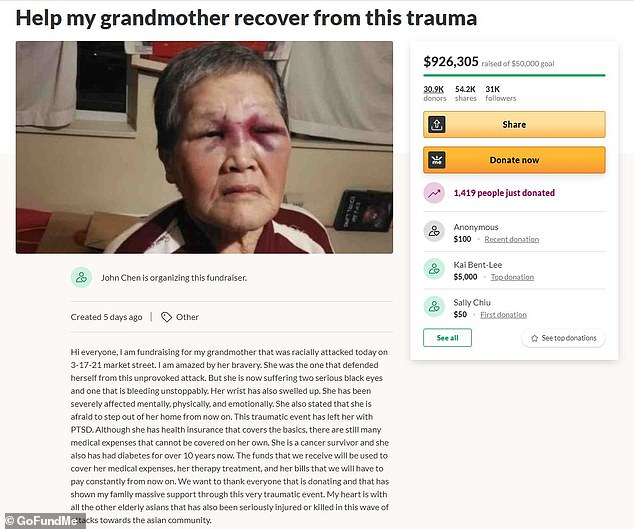 Asian Grandma Who Got Punched In The Face For Race, Donates All $900,000 Raised For HerAsian Grandma Who Got Punched In The Face For Race, Donates All $900,000 Raised For Her