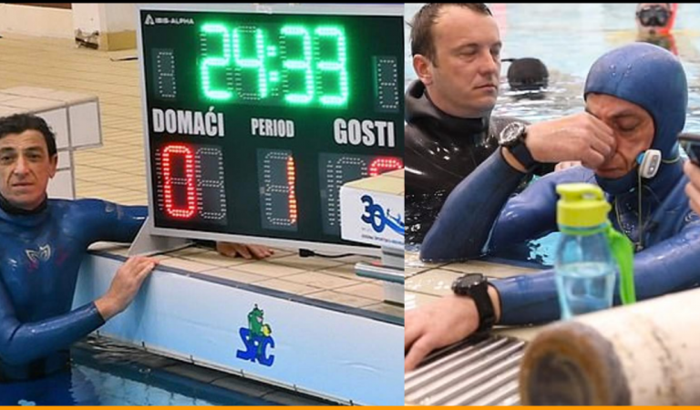 Croatian Diver Set New Record by Holding His Breath Underwater For 24 Minutes 33 Seconds